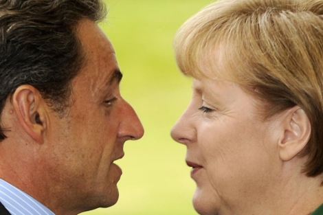 Nicolas Sarkozy y Angela Merkel.   Afp