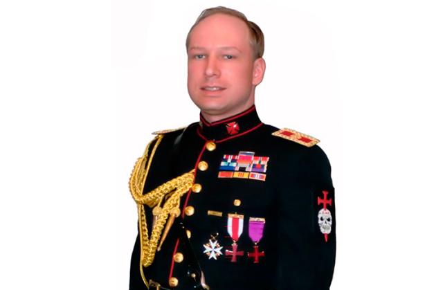 Montaje de Anders Behring con un traje militar de gala y las insignias para la milicia que propone en su manifiesto.