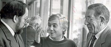 Ceferino Díaz en los años 80 cuando el Parlamento estaba en el Pazo de Fonseca con el ex vicepresidente da Xunta Barreiro Rivas (ECG). | El Correo Gallego