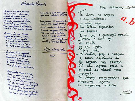 Manuscritos sobre Bóveda de Neira Vilas y Olga Patiño. | Agrupación cultural
