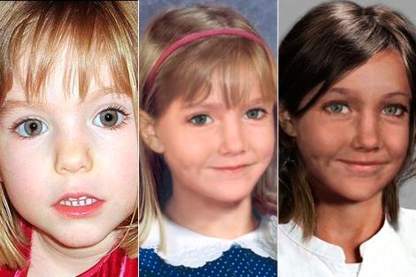 La niña (i) y reconstrucciones de cómo puede ser ahora. | National Center for Missing Children