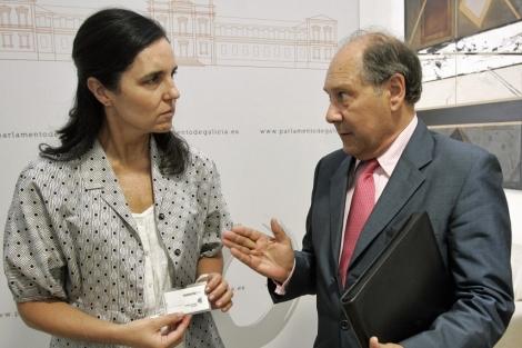 Luciano Fariña entrega la memoria a Pilar Rojo en el Parlamento. | Efe
