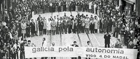 Manifestación en Vigo el 4 de diciembre de 1979 en contra del 'Estatuto da Aldraxe'.