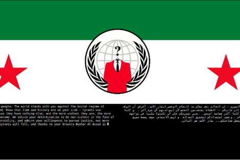 El logo de Anonymous sustituye la bandera de Siria en la página web del Ministerio de Defensa.