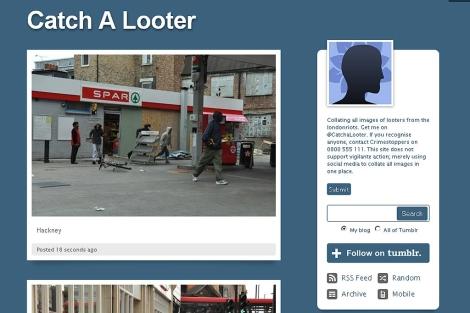Pantalla del sito de Tumbrl 'Catch A Looter'