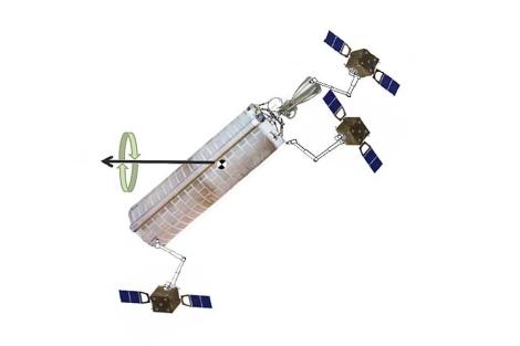 Esquema del satélite y sus brazos robóticos.   SpaceTech12-System E. Data Package.