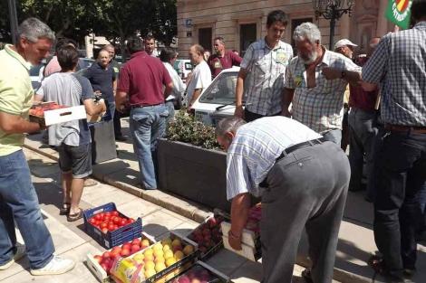 Protesta de agricultores ante la Subdelegación del Gobierno en Lleida. | Efe