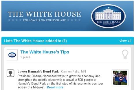 Página de la Casa Blanca en Foursquare