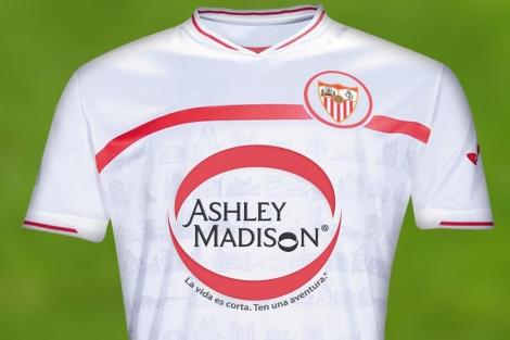 Boceto de la posible camiseta del Sevilla.   Foto: Ashley Madison.