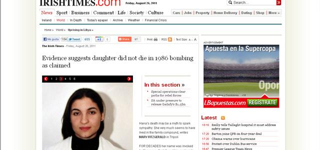 La página web de Irish Times, mostrando una foto de la supuesta Hana Gadafi. | EM