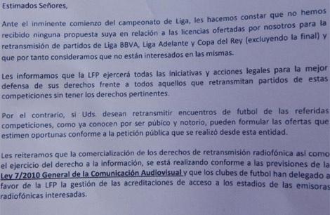 Documento que el Valencia entregó a las radios.   Vicente Bosch
