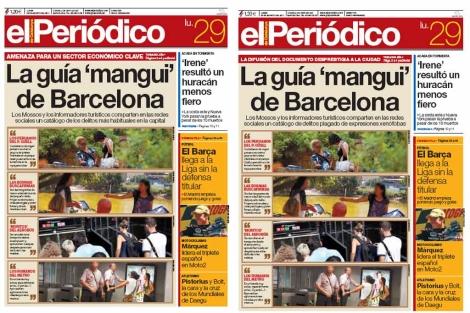 La primera y segunda versión de 'El Periódico de Catalunya'.