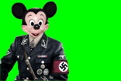 Mickey Mouse vestido de oficial nazi en una obra del artissta italiano Max Papeschi.