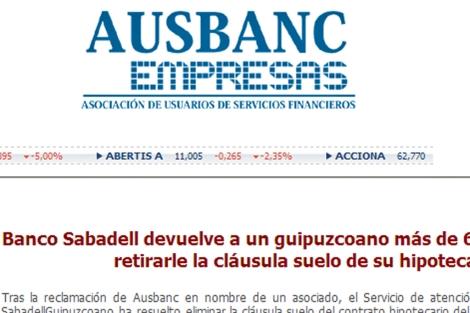 Web de Ausbanc, asociación mediadora en el conflicto.   ELMUNDO.es