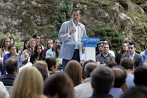 Mariano Rajoy, en un momento de su discurso. | R. G.
