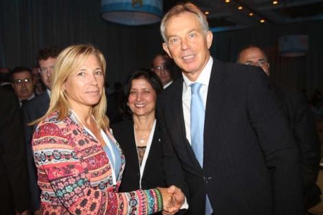 Ortega, con el enviado especial del cuarteto en Oriente Próximo, Tony Blair.