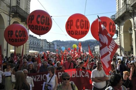 Huelga general en Italia. Protestas en Turín. Ap