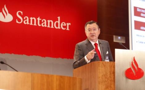 Alfredo Sáenz presenta los resultados del Banco Santander en la Ciudad Financiera.   Carlos Alba