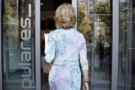 Esperanza Aguirre, en la sede de Génova esta semana. (Di Lolli)