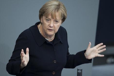 Angela Merkel, ayer, en el debate de los presupuestos alemanes.   AP