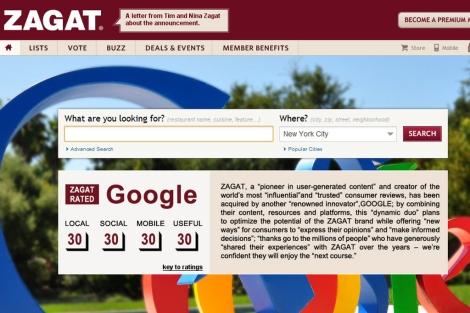 Página de inicio de Zagat.com