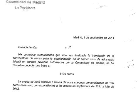 Encabezamiento de una de las cartas enviadas a los beneficiarios de la ayuda.