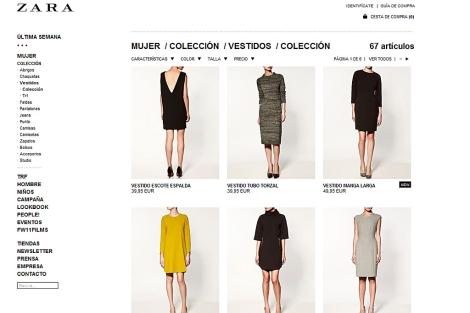 Imagen de la tienda de Zara online.
