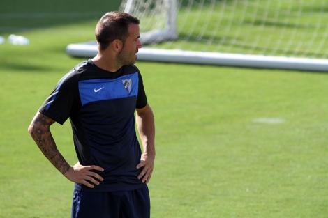 Apoño durante un entrenamiento del Málaga. | C. Díaz