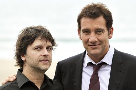 Fresnadillo y Clive Owen, esta mañana en San Sebastián. | Efe