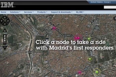 El gráfico virtual con el que IBM publicita el servicio de emergencias de Madrid.