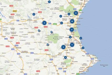Mapa con los sitios de encuentro señalados. | Mispicaderos.net
