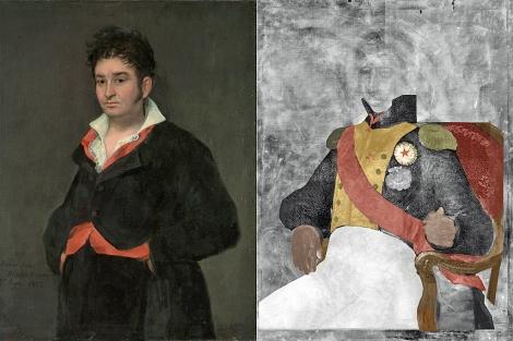 Imagen de las dos pinturas: la original (izquierda) y la oculta (derecha).