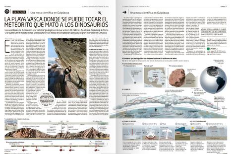 Doble página de Eureka con el artículo premiado de Pedro Cáceres.