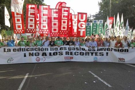 Imagen de los manifestantes en la marcha de este martes. (Efe)