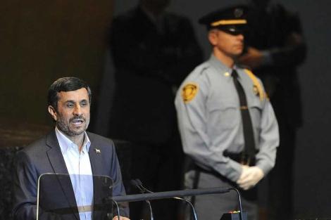 Ahmadineyad interviene durante el debate general.  Efe