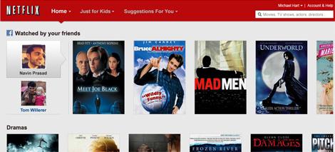 Captura de la integración que Netflix hará con Facebook.