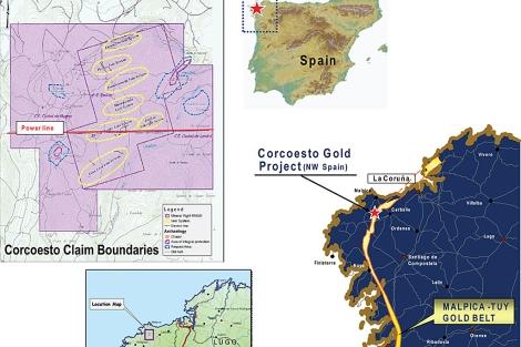 Mapas del proyecto aurífero de Corcoesto.   Edgewater