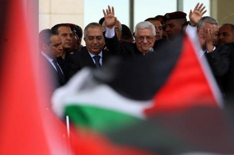 Abu Mazen, a su llegada a Ramala. | Afp