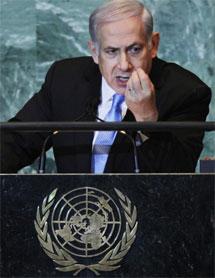 Netanyahu, durante su intervención en la ONU. | Afp