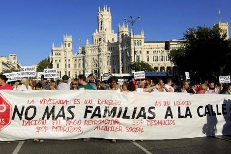 Cabecera de la manifestación celebrada en Madrid.   Efe
