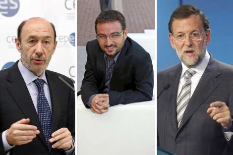 Rubalcaba, el 'Follonero' y Rajoy.