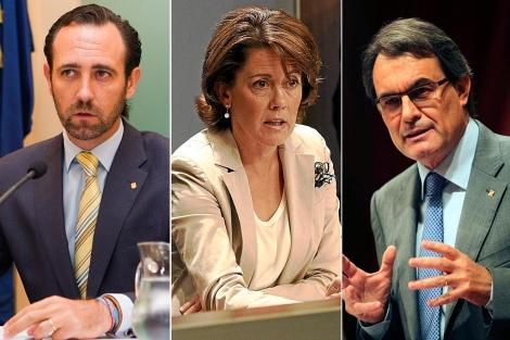 José Ramón Bauzá, Yolanda Barcina y Artur Mas. | Efe