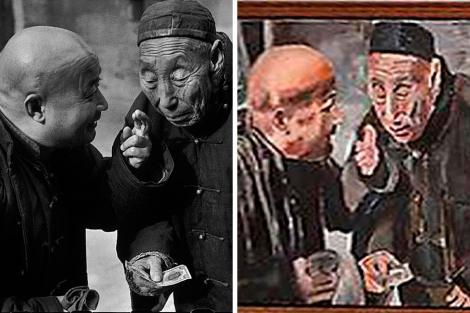 La fotografía de Cartier-Breeson (i.) y la pintura de Bob Dylan (d.).