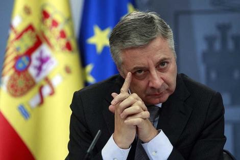 José Blanco, en la rueda de prensa tras el Consejo de Ministros. | J. Barbancho.
