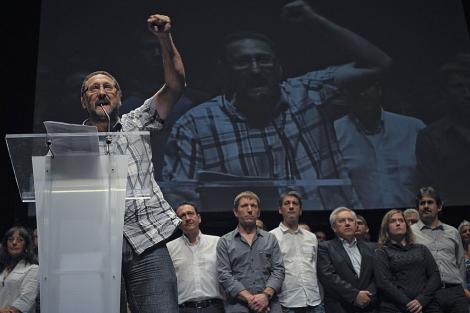 Txelui Moreno, durante su discurso en la presentación de Amaiur. | Ap.