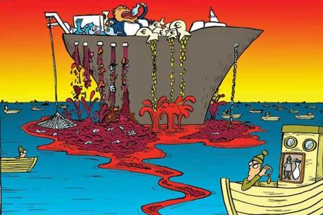 Ilustración del informe que reivindica la pesca artesanal.   Tom Morgan-Jones /Greenpeace