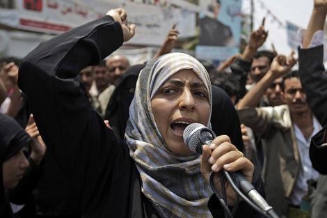 La activista yemení y flamante Nobel de la Paz, Tawakul Karman. | Ap