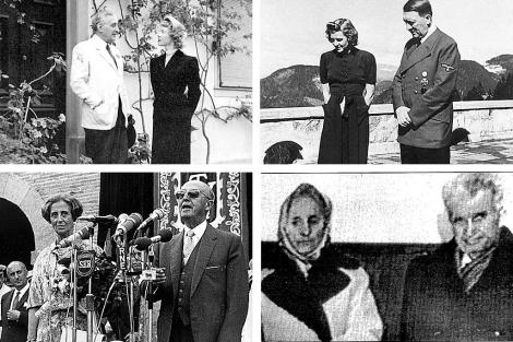 Salazar y la periodista francesa Christine Garnier (arriba izq.), Eva Braun y Hitler (arriba derecha), Carmen Polo y Franco (abajo izq.) y Elena y Nicolae Ceaucescu.