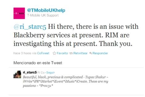 Twitter del operador T-Mobile.