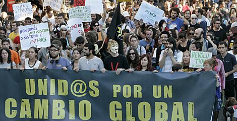 La manifestación de Santiago partió de la Alameda de la ciudad.   Efe